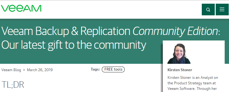 New Veeam Backup & Replication Community Edition for home labs is
