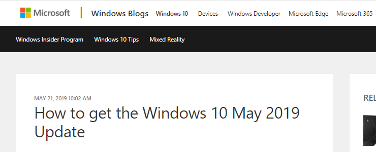 Microsoft Windows 10 May 2019 Update / Windows Server 2019