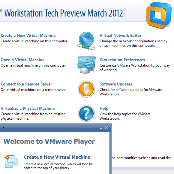 VMware Workstation Technology Preview 2012 (free VMware Player lives
