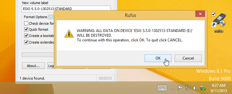 Rufus lets you quickly and easily reformat an ESXi USB flash drive