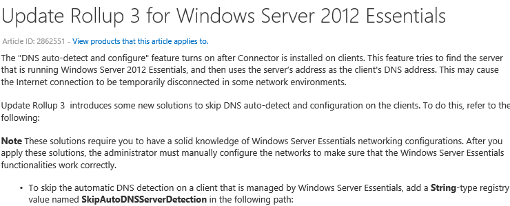 Windows Server 2012 Essentials Update Rollup 3 has arrived