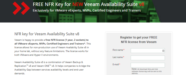 Free NFR of Veeam Availability Suite v8 with Backup & Replication