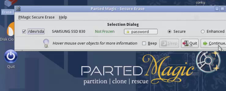 How to use Parted Magic's Secure Erase to restore
