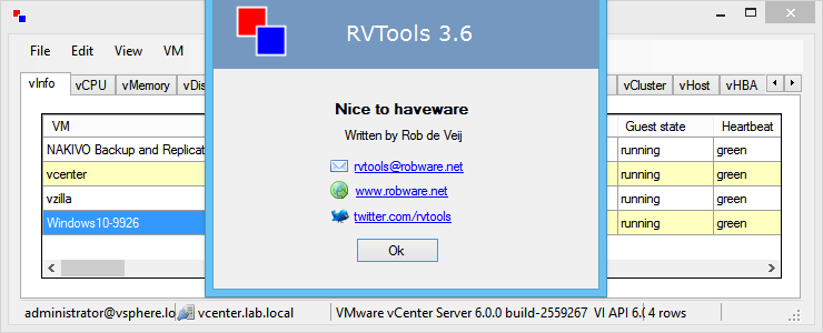 RVTools 3 6 works with VMware vSphere 6 0 | TinkerTry IT @ Home