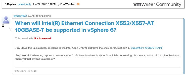 Intel Xeon D-1540 SoC 10GbE X552/X557-AT 10GBASE-T VIB for
