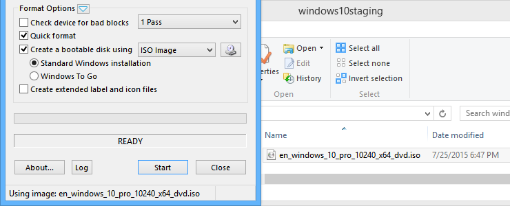 How to create a Windows 10 (Build 10240) bootable USB drive