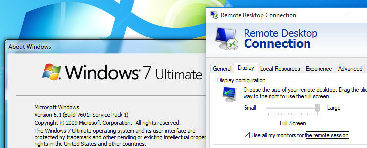 Use all your monitors for Remote Desktop to Windows 7 PCs or VMs by