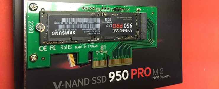 How to install Samsung 950 PRO M 2 SSD in a PCIe slot
