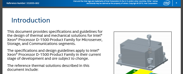 Intel Xeon Processor D-1500 Product Family Thermal