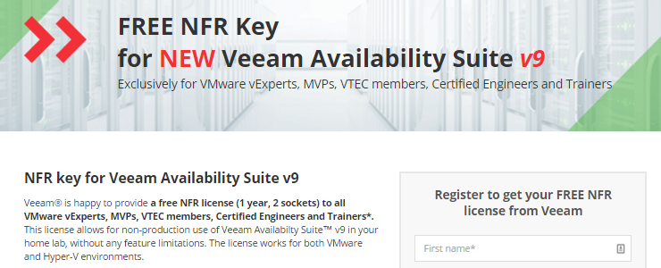 Free NFR of Veeam Availability Suite v9 with Backup