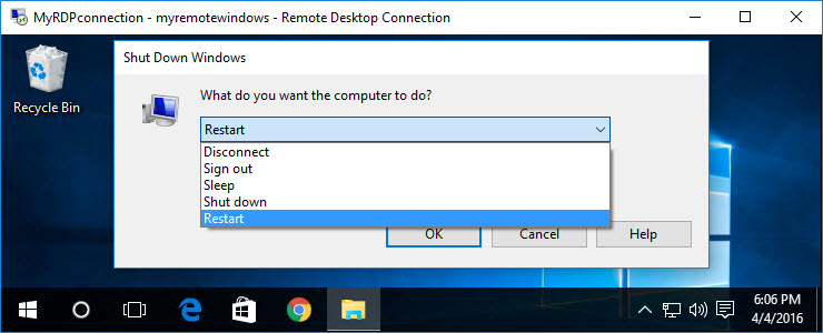 How to easily shutdown or restart Windows over Remote Desktop