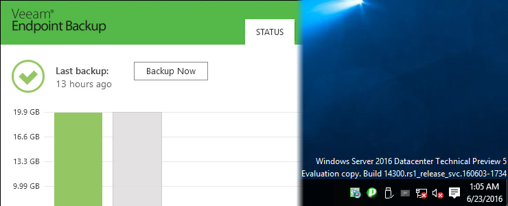 Veeam Endpoint Backup FREE works well with Windows Server