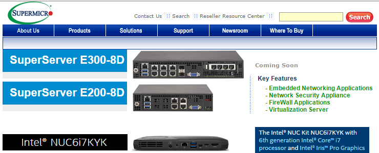 Intel NUC-like micro servers with 4 or 8 1GbE/10GbE ports
