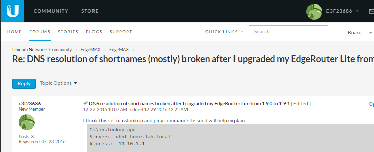 How to fix DNS short name lookup failures on Ubiquiti EdgeRouter