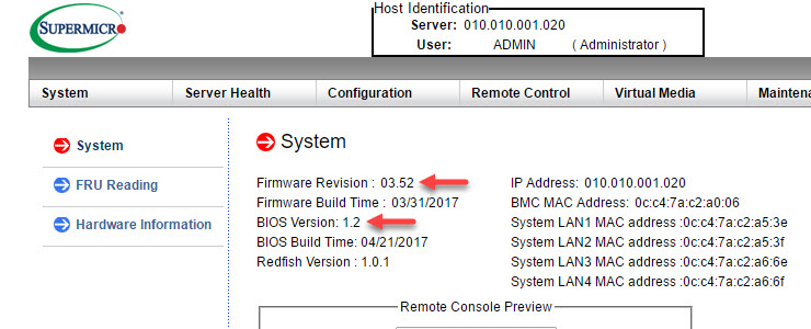 New Supermicro BIOS 1 2 and (under validation) IPMI 3 52 for