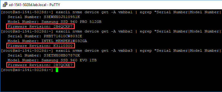 How to find NVMe SSD firmware versions on VMware ESXi using