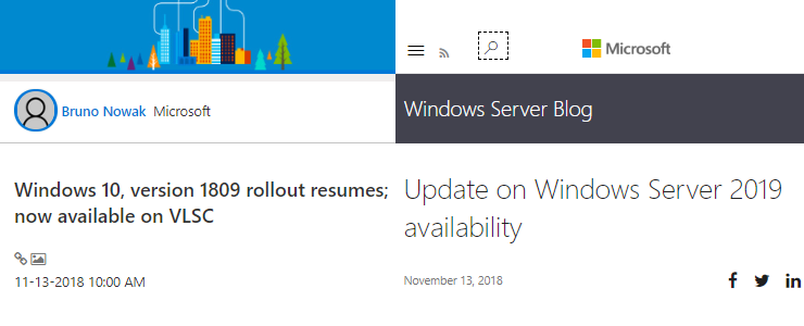 Microsoft Windows 10 and Windows Server 2019 download links for re
